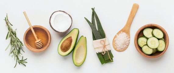 Natural herbal skin care products, ingredients aloe, avocado