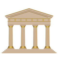 Ancient temple with four columns isolated on white background