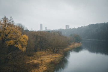 Foggy river view