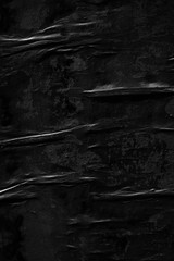 Dark black paper background creased crumpled blank posters old torn ripped surface grunge textures placard backdrop empty space for text