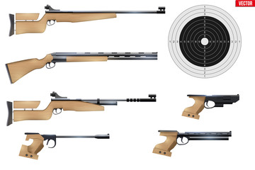 Set of Shooting Sport Equipment. Games of Shooting Range. Rifles and pistols with target. Vector Illustration isolated on white background.