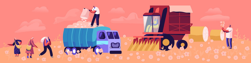 Cotton Harvesting Concept. Male and Female Laborer Characters Picking Fiber on Field and Put into Truck for Shipping and Transportation. Agribusiness Textile Industry. Cartoon Flat Vector Illustration