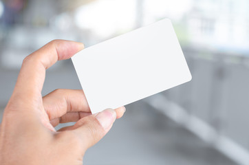 hand holding empty blank white business card mock up design text for advertisement  branding.