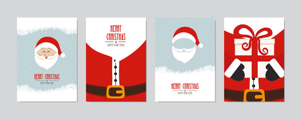 Wall Mural - Cute santa claus card set. Merry christmas and Happy New Year greeting winter snowy background lettering vector. Christmas card set.