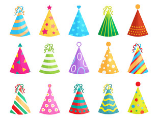 Set of Birthday party hats isolated on white background. Vector party cones with cute decoration. Christmas caps collection.