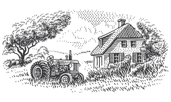 An old tractor near farmhouse in countryside engraving style illustration. Vintage rustic village drawing. Vector.