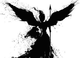 Black silhouette of an angel drawn in ink, with spear and shield. 2D illustration