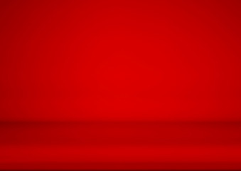 Wall Mural - Empty red color studio room background, used for display or montage of product, vector illustration.