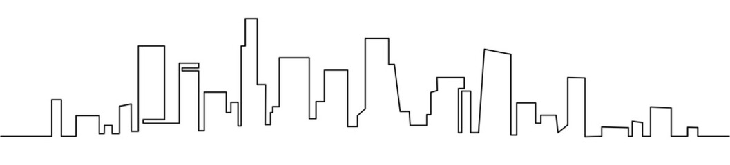 Modern cityscape continuous one line vector drawing. Metropolis architecture panoramic landscape. New York skyscrapers hand drawn silhouette. Apartment buildings