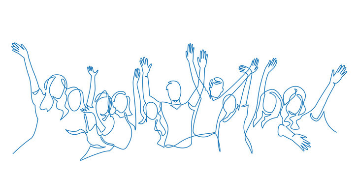 Cheerful crowd cheering illustration. Hands up. Group of applause people continuous one line vector drawing.