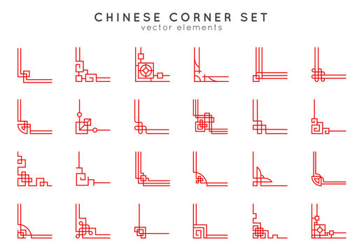 Asian corner set in vintage style on white background. Traditional chinese ornaments for your design. Vector red japanese elements. Artwork graphic, asian culture decoration