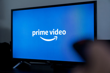 Online video streaming Prime Video screen on TV