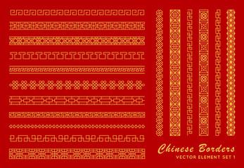 Asian border set in vintage style on red background. Traditional chinese ornaments for your design. Vector golden japanese pattern. Artwork graphic, asian culture decoration Fotomurales