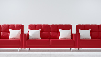 Red sofa in the white living room, , Modern vintage interior of living room - 3D Rendering