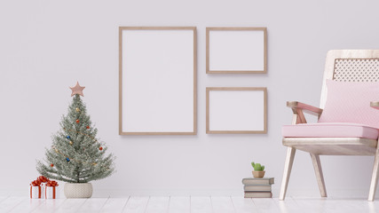 Christmas poster with 3 blank frames on a white wall - 3D rendering, illustration.