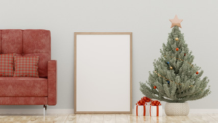 Christmas poster mockup with frame on a white wall background - 3D rendering, illustration.