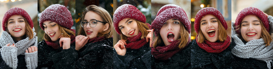 Collage of images of prety funny girl