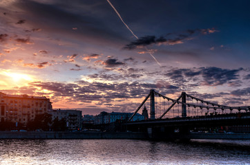 Silhouette of Crimean bridge in Moscow at sunset
