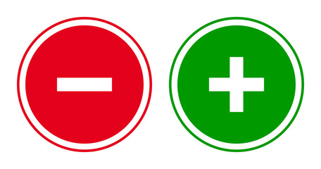 Set of round minus and plus sign icons, buttons. Flat negative and positive symbols on white background.