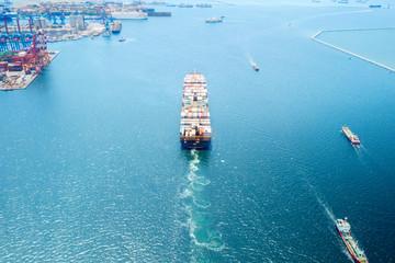 Container ship entering Jakarta International Port