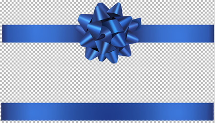 blue bow and ribbon illustration for christmas and birthday decorations