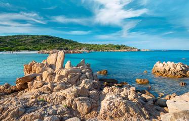 Rocks and sand in Liscia Ruja beach, Costa Smeralda - Sardinia, Arzachena, Italy