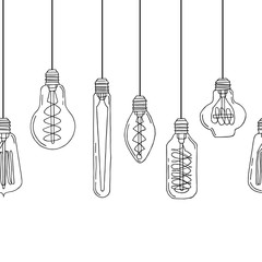 Hand drawn light bulbs seamless pattern (idea symbol) in black and white. Doodle border. Stock vector illustration.