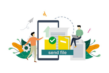 File or document transfer, copy files, backup, file sharing concept vector flat illustration template, suitable for background, landing page, advertising illustration