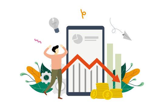 Business profit loss, financial crisis, profit decrease, economic or market fall, marketing income down arrow stock graph concept vector flat illustration template