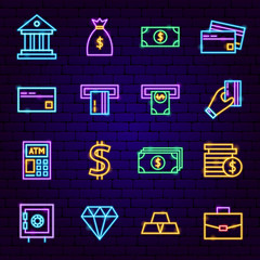 Banking Neon Icons