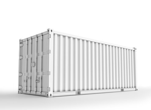 White Shipping Container, 3D Rednered on Light Gray Background