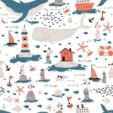 Marine seamless pattern. Childish illustration in simple hand-drawn Scandinavian style. Cute animals and fish. Whales, sharks, seagulls, etc. Lighthouse, Nordic house, ships