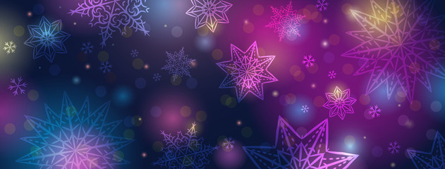 Wall Mural - Christmas banner with snowflakes. Merry Christmas and Happy New Year greeting banner. Horizontal new year background, headers, posters, cards, website. Vector illustration
