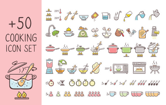 Set of hand drawn cooking icons, perfect for giving cooking instructions and explain cooking recipes. Hand drawn colorful icons isolated on white background.