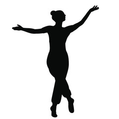 isolated, silhouette dancing graceful girl dance