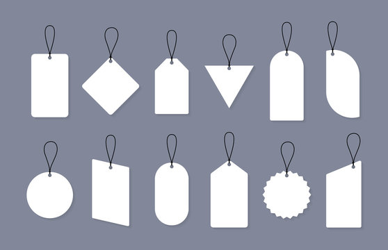 Set of empty sale or price tags in different shapes. Set of blank labels for discount, sale, price tags. Vector graphic design