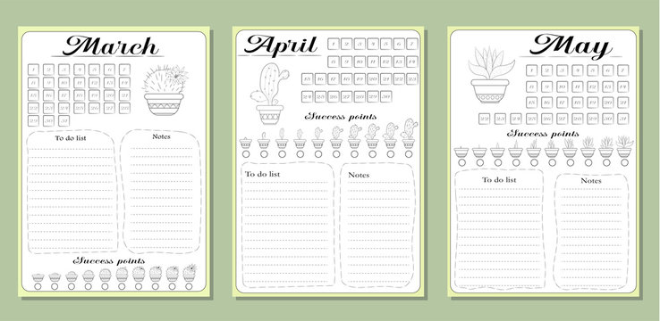 Monthly lists a list of common activities in the spring months of March, April, May.