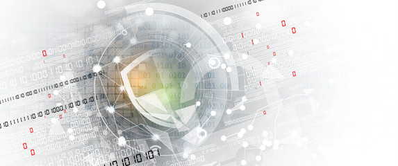 internet digital security technology concept for business background. Lock on circuit board