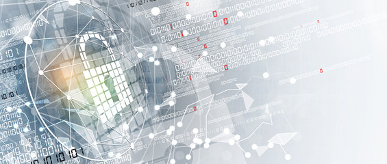 Wall Mural - internet digital security technology concept for business background. Lock on circuit board