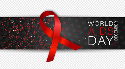AIDS awarness day. Red ribbon. HIV prevention campaign concept. Overlay banner for a custom image. Vector illustration.
