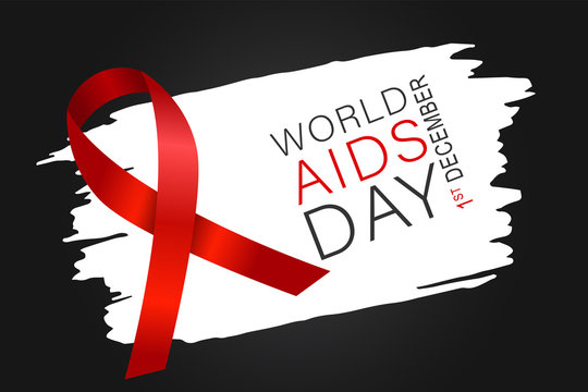 World Aids day banner with red awarness ribbon. Vector illustration.