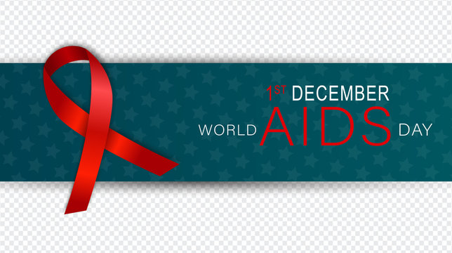 AIDS awarness day. Red ribbon. HIV prevention campaign concept. Overlay banner. Vector illustration.
