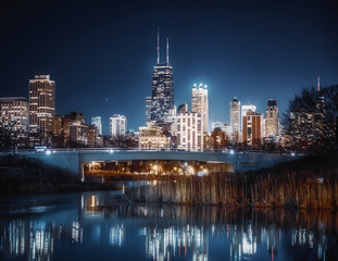 Chicago skyline at night from Lincoln Park in Chicago, Illinois, USA.
