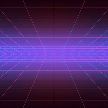 Disco floor, vintage dance background with blue and purple neon illumination, futuristic style light effect perspective. Party poster with strobing laser grid. Three dimensional banner. Sci fi mesh.