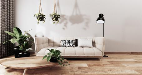 Foto op Textielframe Zen mock up contemporary living room decoration japanese style,designed minimal zen style.3d rendering