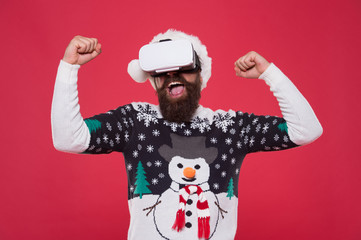 Virtual achievement. Future technologies. Virtual life. Man celebrate christmas virtual reality...