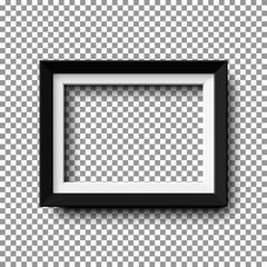 Fototapeta Realistic horizontal picture frame isolated on transparent background. obraz