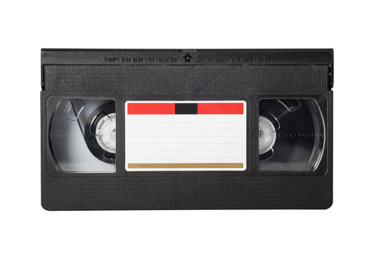 VHS video tape isolated on white background. Close-up