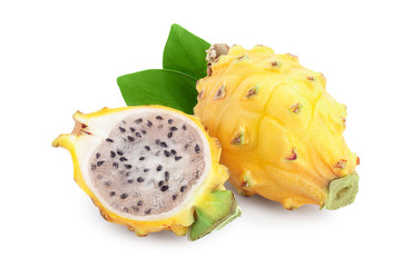 Ripe Dragon fruit, Pitaya or Pitahaya yellow isolated on white background, fruit healthy concept