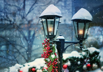 Christmas lantern. Merry Christmas and happy new year concept. beautiful holiday winter decor, snowy landscape. atmosphere winter image. copy space